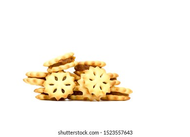 Pineapple jam biscuits or crackers isolated on white background, cookies or bakery for coffee break or snack.