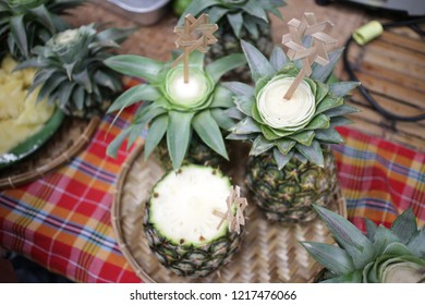 pineapple juice on table