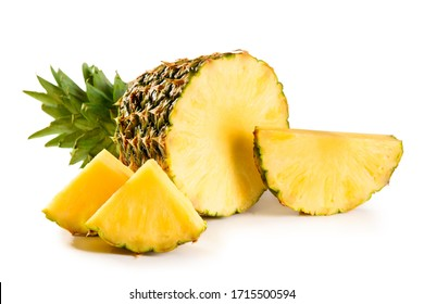pineapple juicy yellow fruit with slices and leaf isolated on white background
