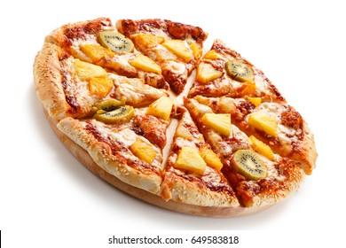 Pineapple and kiwi pizza on white background
