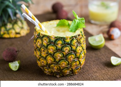 Pineapple with Lychee smoothie in fresh Pineapple