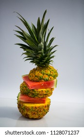 Pineapple and melon mixed cut, layered