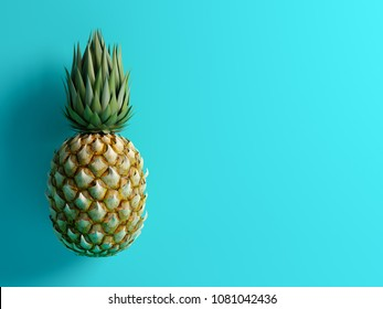 pineapple on blue background 3D rendering