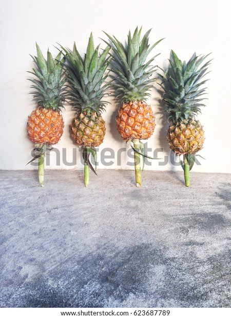 Pineapple on cement and white background