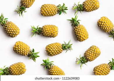 Pineapple on white background lay flat color image.