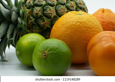 pineapple, oranges, limes, sharon