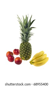 Pineapple, peaches and bananas isolated over white background