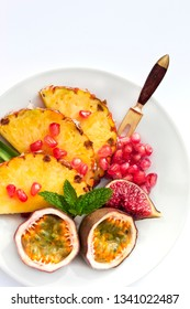 Pineapple pomegranates and passion fruit
