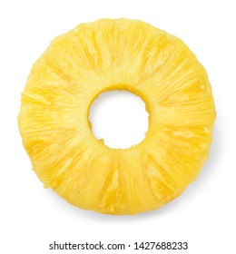 Pineapple ring. Canned pineapple slice. Flat design. Top view. Pineapple isolated on white.