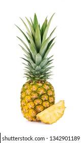Pineapple slice isolated on white background.