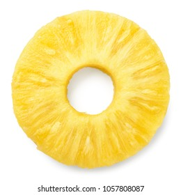 Pineapple slice isolated. Pineapple ring on white.