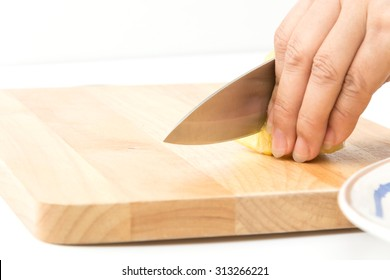 pineapple slice on wood board