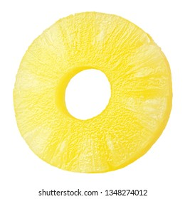 pineapple slice, ring, isolated on white background, clipping path, full depth of field
