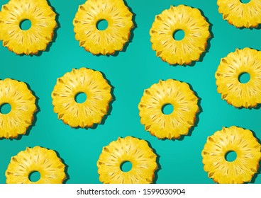 pineapple sliced pattern background Retro STYL tropical style concept Pattern with hipster pineapple summer decoration background pineapple background modern - Shutterstock ID 1599030904