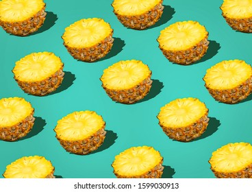 pineapple sliced pattern background Retro STYL tropical style concept Pattern with hipster pineapple summer decoration background pineapple background modern - Shutterstock ID 1599030913