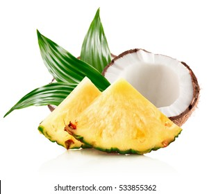 pineapple slices and half of coconut isolated on the white background