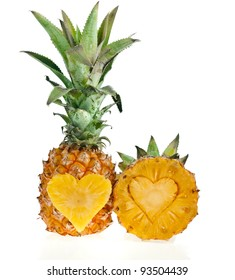 pineapple with slices heart  isolated on white background