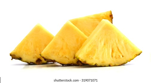 pineapple with slices isolated Clipping Path