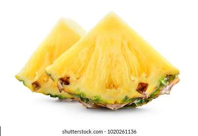 Pineapple slices isolated on white background. Fresh raw triangle chunks of fruit.