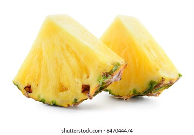 Pineapple. Slices isolated on white background. Fresh raw triangle chunks of fruit. Full depth of field.
