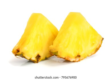 pineapple slices isolated on white background close-up