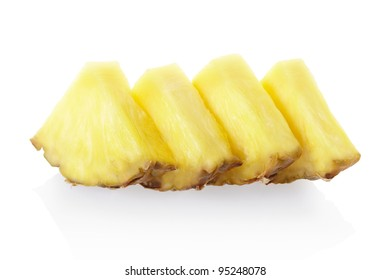 Pineapple slices isolated on white, clipping path included