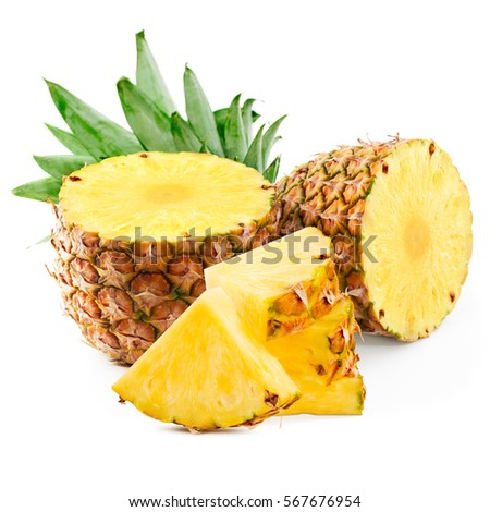 pineapple with slices isolated on white pineapple, ananas, fruit