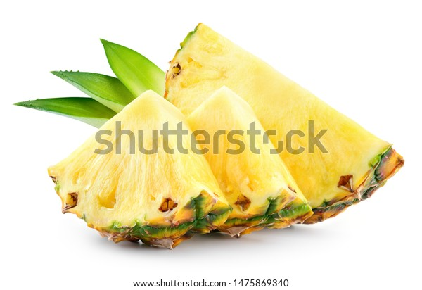 Pineapple slices with leaves. Pineapple isolate. Cut pineapple on white.
