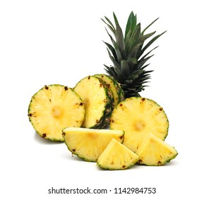 pineapple with slices on white