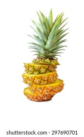 Pineapple with slices on white background, Fruit.