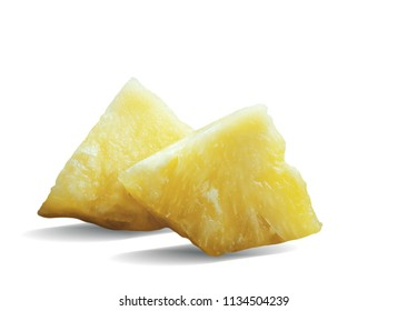 Pineapple slices of pieces on a white background.