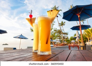 Pineapple smoothies, refreshing tropical non-alcoholic drink