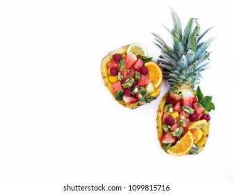 Pineapple stuffed with assorted fruit salad