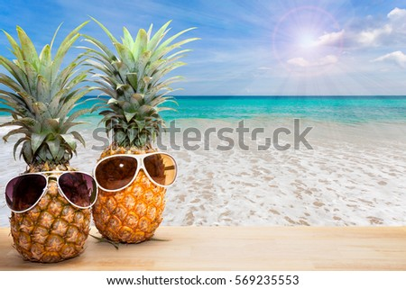 Pineapple With Sunglasses On Beach Backgroundconcept Summer Background