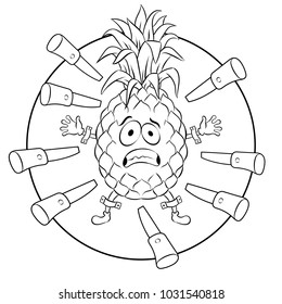 Pineapple target for throwing knives coloring raster illustration. Cartoon food character. Isolated image on white background. Comic book style imitation.