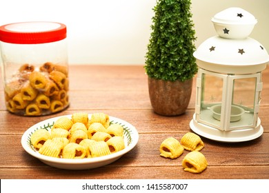 Pineapple tarts or nanas tart are small, bite-size pastries filled or topped with pineapple jam, originating from Indonesia, but found in different parts of Asia. Eid Concept, Selective Focus