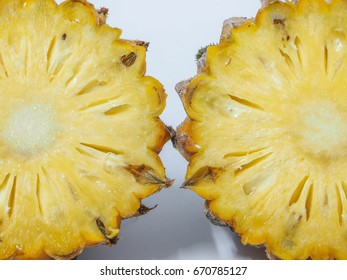 Pineapple two pieces close up cut