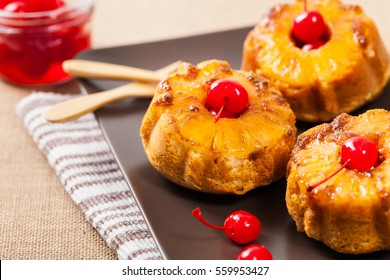 Pineapple Upside Down Mini Cakes. Selective focus.