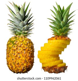 Pineapple whole next to a peeled, sliced and reassembled one. Isolated on white.