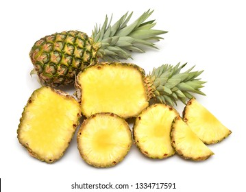 Pineapple whole and rings isolated on white background. Creative tropical fruit concept. Flat lay, top view