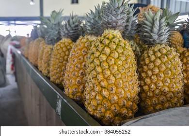 Pineapples on a local market in Nadi, Fiji