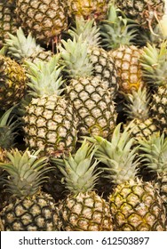 Pineapples on a market stall in Harbour Town, Queensland, Australia. Full-frame, Background. Healthy Food.