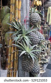 Pineapples for sale in a local market, Kathmandu, Nepal, Asia
