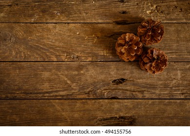pinecone on old, rustikal brown wood background