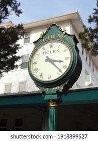 Pinehurst, NC - April 2014: Rolex Clock at the Carolina Hotel in Pinehurst, North Carolina