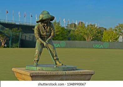 Pinehurst, NC/United States- 06/03/2014: The famed Putter Boy stands ready days before the USGA 2014 US Open in Pinehurst, North Carolina.