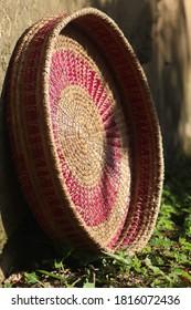 Pineneedle handmade basket captured at afternoon in himachal pradesh.