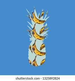 pinepple with bananas pattern on pastel minimal background