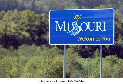 PINEVILLE, MO - OCTOBER 4: A welcome sign at the Missouri state line located in Pineville, Missouri on October 4, 2012. Missouri is a Midwestern U.S. state and the 24th state admitted to the union.