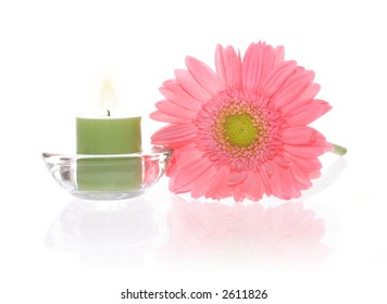 Ping Gerbera and Aromatic Candles with reflection on white background